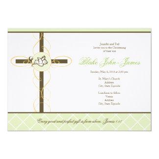 "Neutral Green Christening/Baptism Invitation 5"" X 7"" Invitation Card"