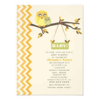 "Neutral Green Fall Baby Shower Mommy & Baby Owls 5.5"" X 7.5"" Invitation Card"