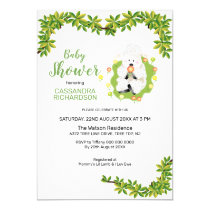 Neutral Green Lamb Baby Shower Invitation