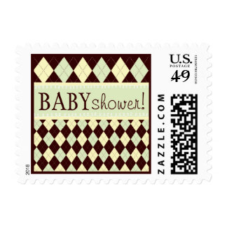 Neutral Green Yellow Argyle Baby Shower Stamp
