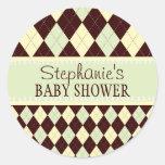 Neutral Green Yellow Argyle Baby Shower Sticker