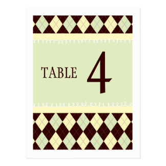 Neutral Green Yellow Argyle Table Number Card