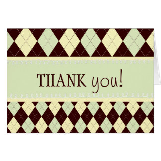 Neutral Green Yellow Argyle Thank You Note Card