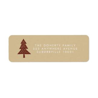 Neutral Happy Holidays Xmas Tree Address Labels