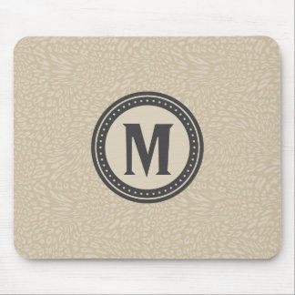 Neutral Leopard-Print Monogrammed Mouse Pad