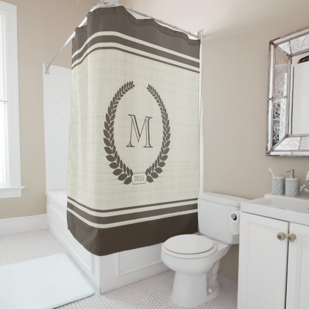 neutral linen and cocoa style fancy monogram shower curtain zazzlecom
