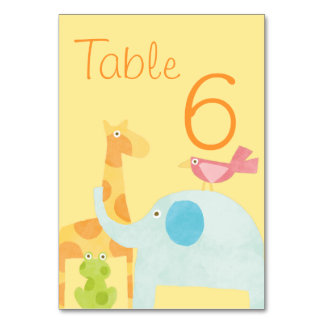 Neutral Mod Animal Baby Shower Table Card