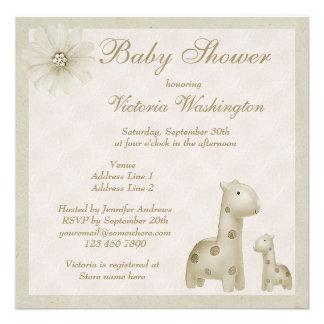 Neutral Mom Baby Giraffes Vintage Baby Shower Invitations
