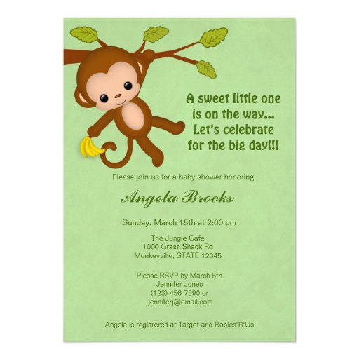 Neutral Monkey Baby Shower Invitations GREEN MM2