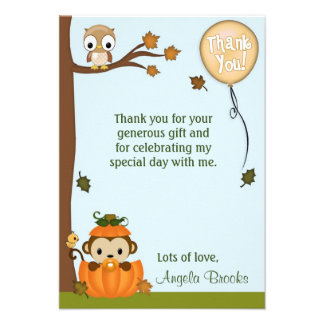 Neutral MONKEY Fall Pumpkin Thank You FLAT Personalized Announcement