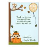 "Neutral MONKEY Fall Pumpkin Thank You (FLAT) 3.5"" X 5"" Invitation Card"