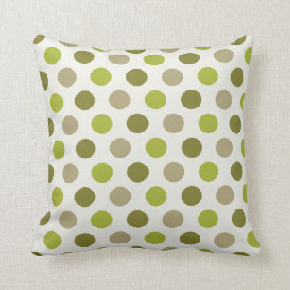 Neutral Olive Green Khaki Polka Dot Pattern Throw Pillow