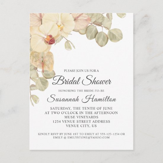 Neutral Orchids and Eucalyptus Bridal Shower Postcard