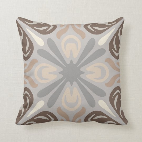 Neutral Pattern Pillow In Grey Tan Amp Brown Zazzle Com