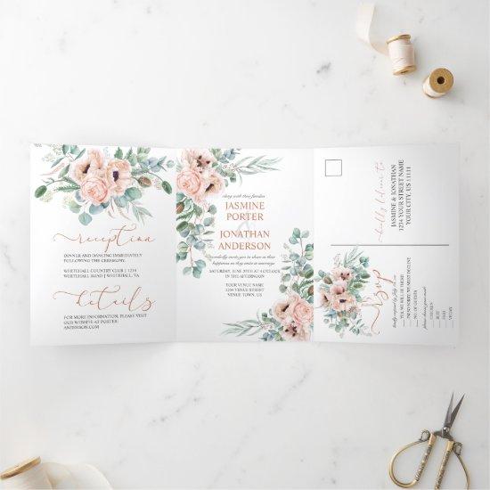 Neutral Peach Watercolor Poppies Greenery Wedding Tri-Fold Invitation