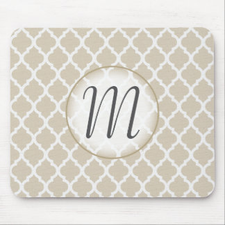 Neutral Quatrefoil Monogrammed Mouse Pad