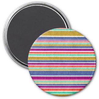 Neutral Rainbow Stripes Pattern 3 Inch Round Magnet