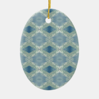 Neutral Shades of Blue Gray Pattern Ceramic Ornament