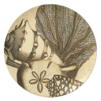 Neutral Shells and Coral Collection Melamine Plate