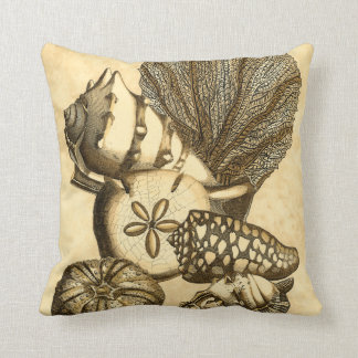 Neutral Shells and Coral Collection Throw Pillow