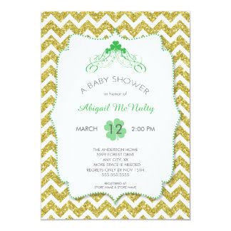 NEUTRAL St Patrick's Day Baby Shower gold glitter Card