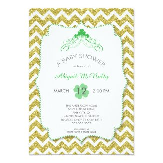 NEUTRAL St Patrick's Day Baby Shower gold glitter