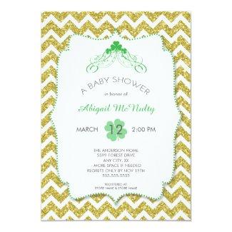 NEUTRAL St Patrick's Day Baby Shower gold glitter