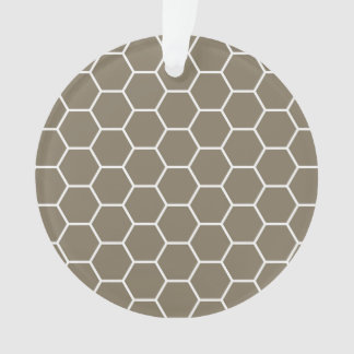 Neutral Stone Colored Honeycomb Geometric Pattern Ornament