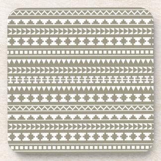 Neutral Stone Gray Aztec Tribal Pattern Beverage Coaster