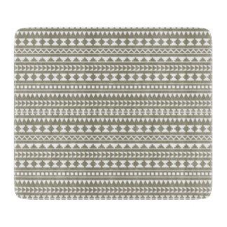 Neutral Stone Gray Aztec Tribal Pattern Cutting Board