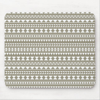 Neutral Stone Gray Aztec Tribal Pattern Mouse Pad