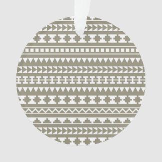 Neutral Stone Gray Aztec Tribal Pattern Ornament