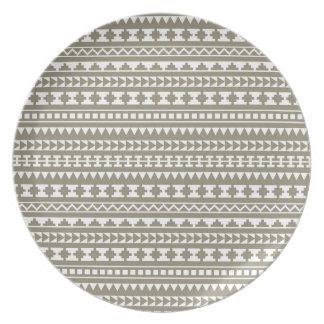 Neutral Stone Gray Aztec Tribal Pattern Plate