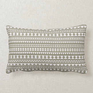Neutral Stone Gray Aztec Tribal Pattern Throw Pillow