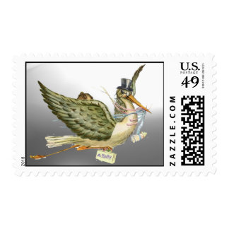 NEUTRAL STORK BABY SHOWER POSTAGE