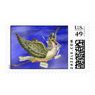 NEUTRAL STORK BABY SHOWER POSTAGE STAMPS