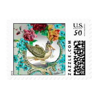NEUTRAL STORK BABY SHOWER,ROSES AND BLUE FLOWERS POSTAGE