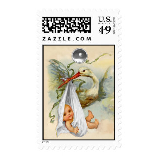 NEUTRAL STORK BABY SHOWER WITH WHITE GEMSTONE POSTAGE