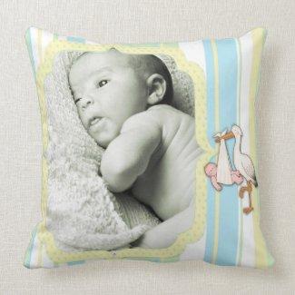 Neutral Stripe Stork Baby Keepsake Pillow