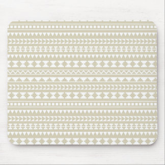 Neutral Tan Aztec Tribal Pattern Mouse Pad