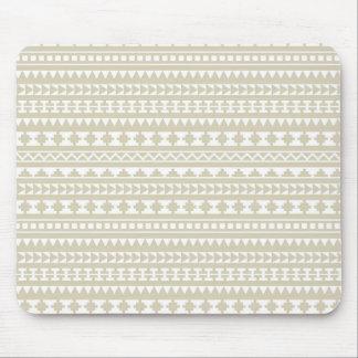 Neutral Tan Aztec Tribal Pattern Mouse Pad