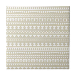 Neutral Tan Aztec Tribal Pattern Tile
