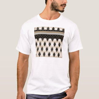 NEUTRAL TAN BLACK WHITE DIAMOND ARGLE STARS SCRAPB T-Shirt