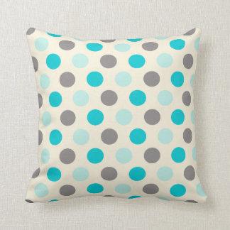 Neutral Teal Mint Taupe Polka Dot Pattern Throw Pillows