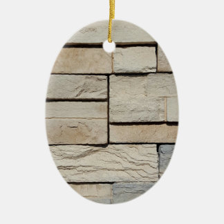 Neutral Ted Randomly Placed Brick Pattern Ceramic Ornament