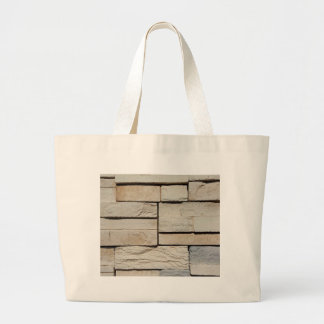 Neutral Ted Randomly Placed Brick Pattern Large Tote Bag