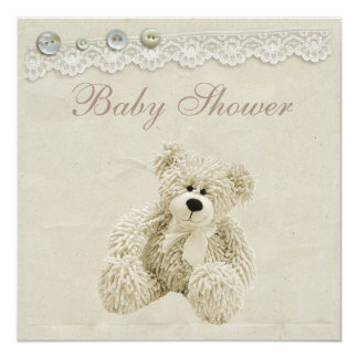 Neutral Teddy Bear Vintage Lace Baby Shower Card