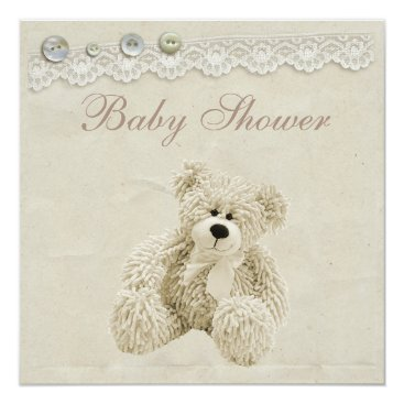 Toddler & Baby themed Neutral Teddy Bear Vintage Lace Baby Shower Card