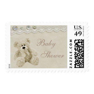 Neutral Teddy Bear Vintage Lace Baby Shower Postage Stamp