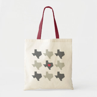 Neutral Texas State Pattern with Red Heart Bag